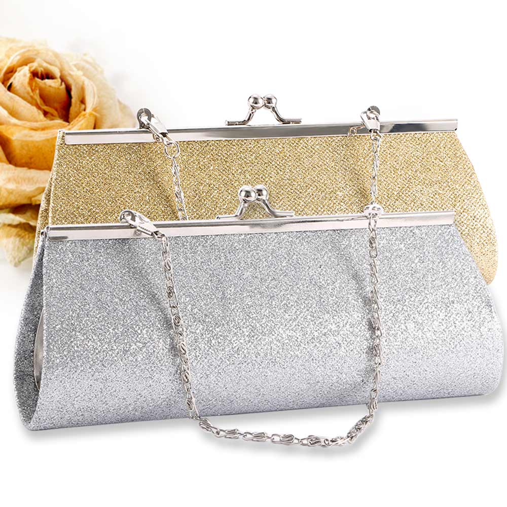 Woman Evening Bag Shiny Glitter Clutch Purse Bag Evening Party Wedding Bridal Banquet Chain Handbag Shoulder Bag