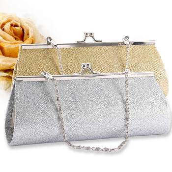 Woman Evening bag Shiny Glitter Clutch Purse Bag Party Wedding Bridal Banquet Chain Handbag Shoulder