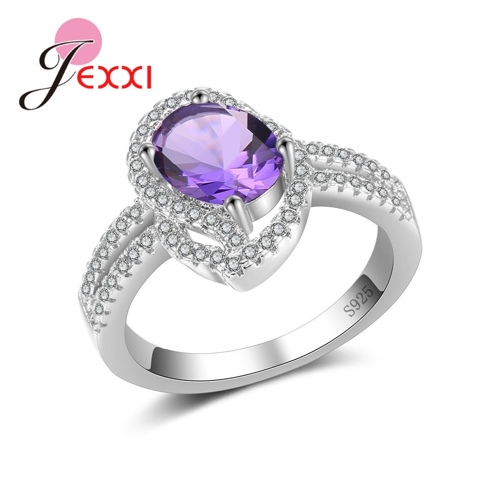 JEXXI Free Shipping Ellipse Super Shiny Crystal Cubic Zirconia Finger Rings For Women Ladies Jewelry Gift 925 Sterling Sinver