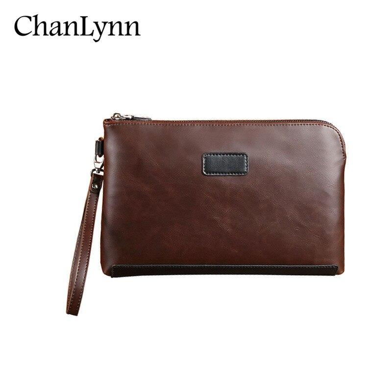 2017 New arrival Fashion leisure Men PU Leather clutches Bag Zipper Business Purses Male Clutch Bag black Small hand bag