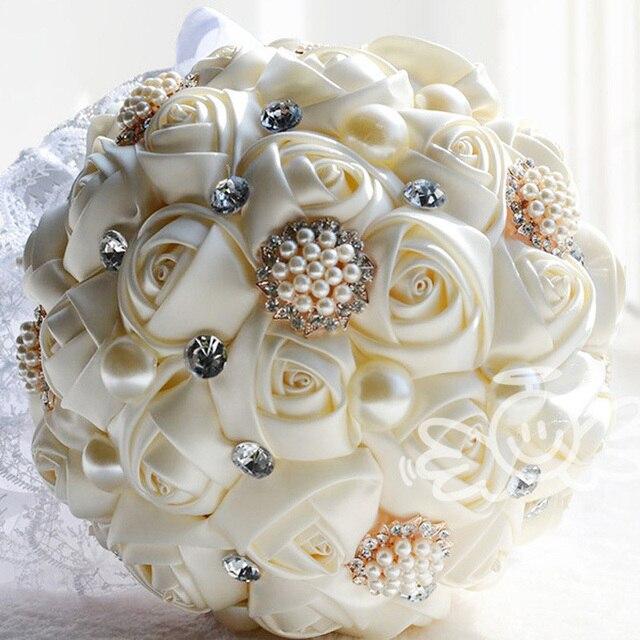 Новый 2015 свадебные цветы свадебные букеты Искусственный Перл из бисера Брошь Шелковый Цветок Розы невесты Свадебный свадебный букет WF009