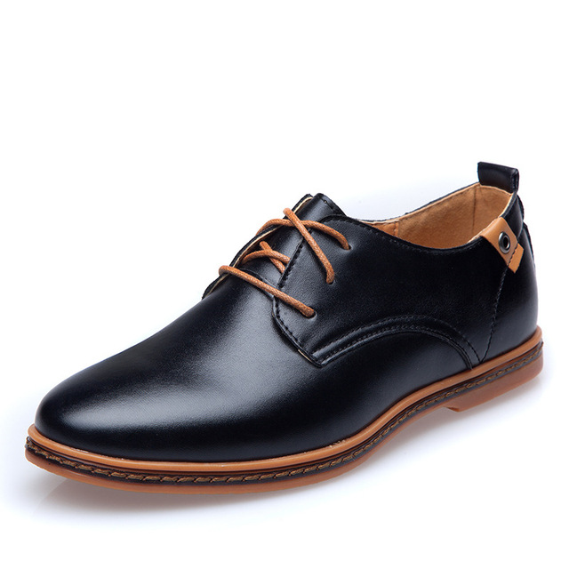 ForU New 2015 Men Shoes Leather Casual Lace up Brown Black Cheap Men Dress  Shoes Oxford Men leather shoes Plus size 45 b79f7723d