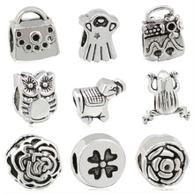 Btuamb Punk Style Crown Flower Bag Dress Christmas Tree Owl Alloy Beads Fit Pandora Bangles Necklaces Making Jewelry Gift Bijoux(China)