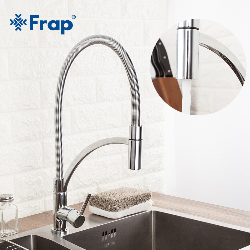 Frap Kitchen Water Faucet 360 Degree Rotation Hot And Cold Water Tap Mixer Chrome Sink Faucets Deck Mounted Y40106