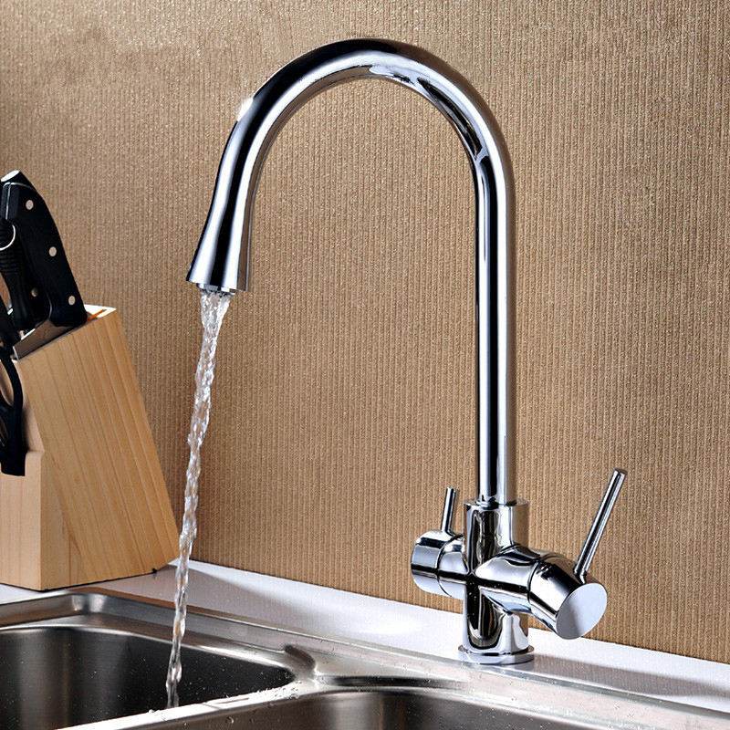 Free shipping Brass Kitchen Faucet 2 Functions Hot Cold Mixing Water Purified Water Kitchen Tap KF009