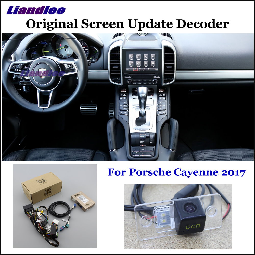 Liandlee For Porsche Cayenne 2017 Original Display Update System Car Rear Reverse Parking Camera Decoder Reversing