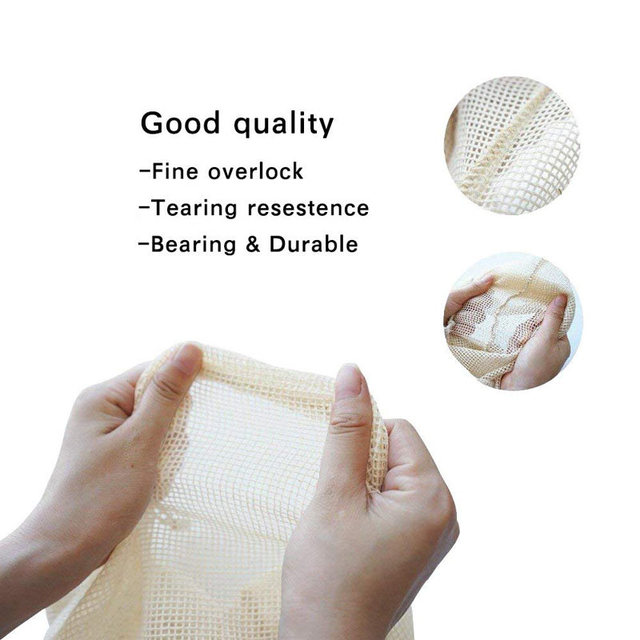 6Pcs Reusable Cotton Vegetable Bags Home Kitchen Fruit And Vegetable Storage Mesh Bags With Drawstring Machine Washable 3 Size