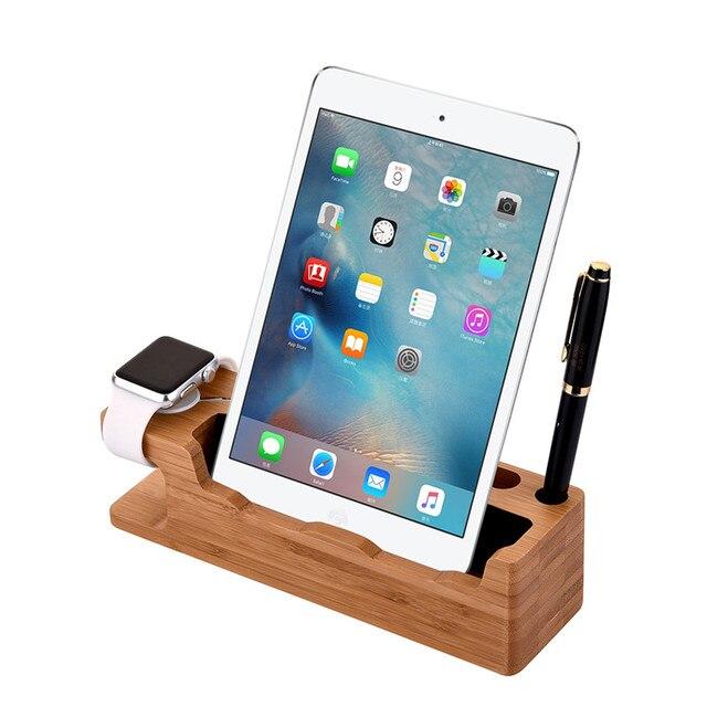 Для Apple Watch/телефон/Tablet зарядки Держатель 2 в 1 натуральный бамбук зарядки дерево sation двойной мобильный телефон Ручка кронштейн универсальный