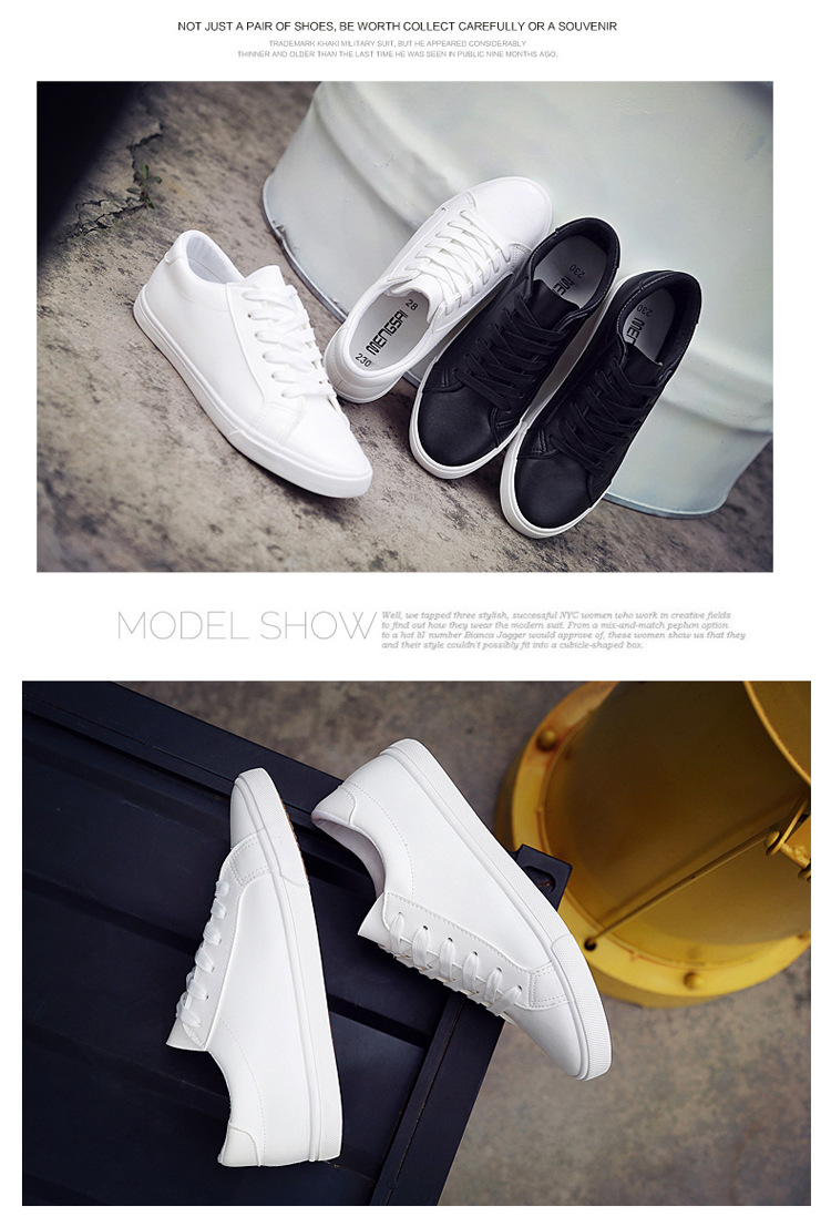 16 New Spring and Summer With White Shoes Women Flat Leather Canvas Shoes Female White Board Shoes Casual Shoes Female 1