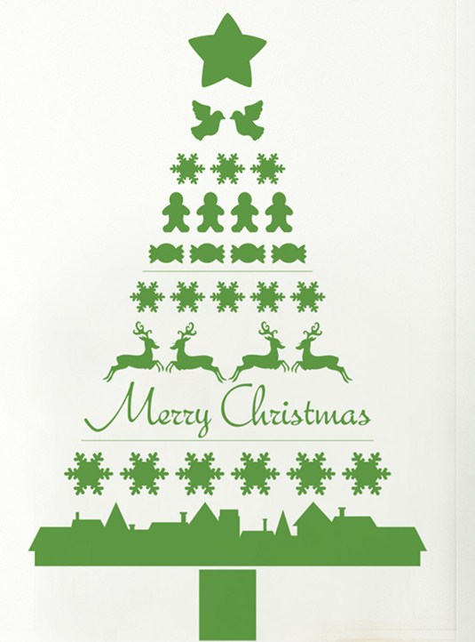 Awesome Christmas Tree Sticker Wall Part   11: Art Christmas Tree Pattern  Vinyl Wall Sticker Part 86