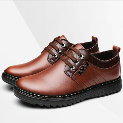 Brand Autumn / Winter genuine leather shoes plus size(37-45) round toe lace-up fashion British casual shoes Oxfords men's flat