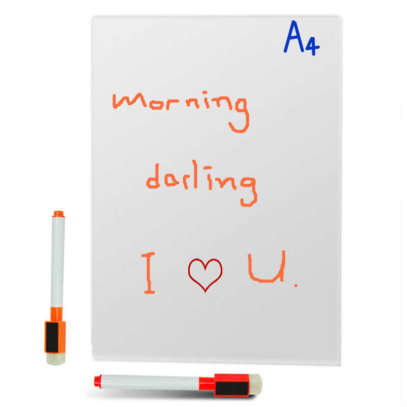 Купить с кэшбэком 3pcs A4sizeMagnetic Whiteboard Writing Flexible Removable Home Decoration Message Fridge Flexible White Board for Kids Memo Pad