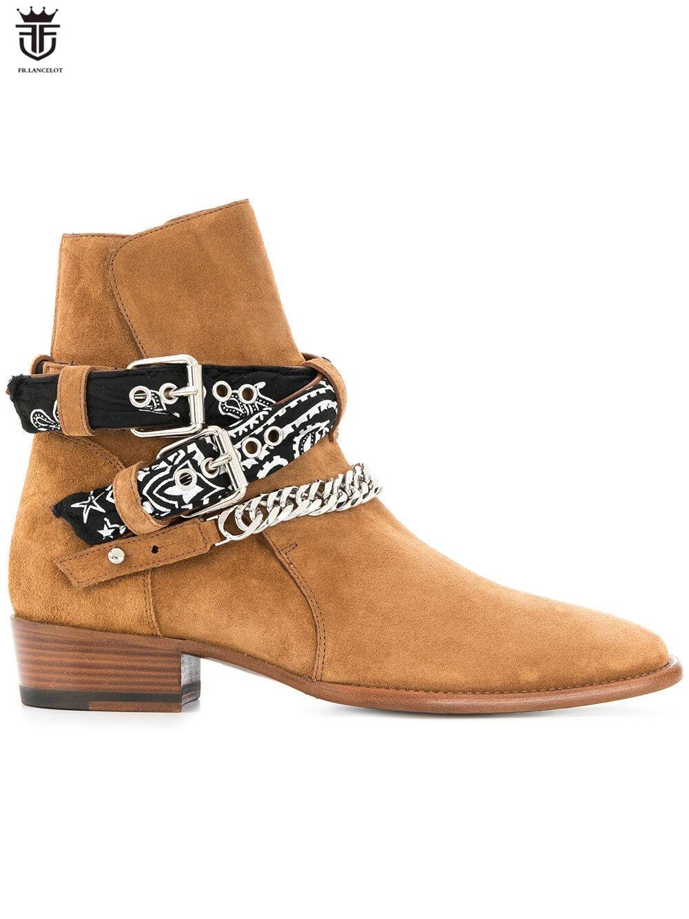 FR LANCELOT 2019 botas Chelsea de ante de los hombres botas de cuero de diseño de Punta hebilla botas nueva plata cadenas de parte de los hombres botas