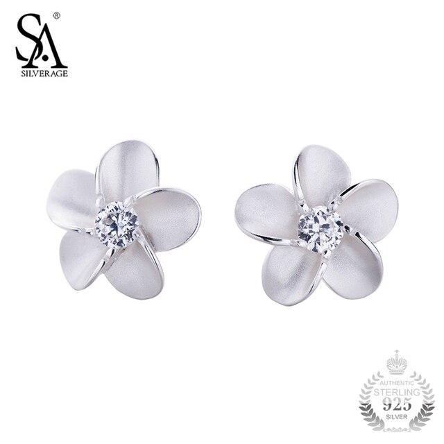 Sa Silverage 925 Silver Jewelry Earrings Stud Flower Pure For Female Women Fine