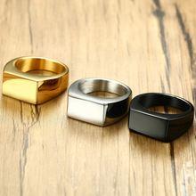 2020 Модные мужские кольца из нержавеющей стали черного золотого