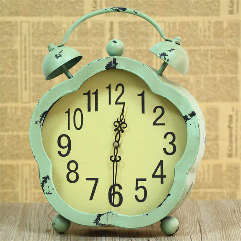 Ретро старинный будильник двойной колокольчик подсветка беззвучные часы кварцевый механизм декоративные настольные часы старинные классические настольные часы