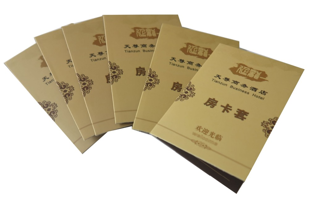 Customer OEM High Quanlity Printing Hotel Room Card Holder With 250Gsm Paper for Key Card Holder