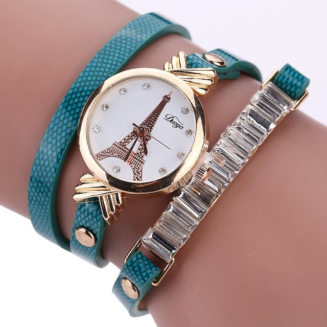 New Fashion Women Tower Dress Watch Leather Lady Bracelet Watch Casual Wristwatch Luxury Quartz Watch Relogio Feminino #D