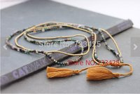 Long brown Tassel stone statement pendant Necklace for women 2014 handmade woven with cotton ,brass beads and slide closure