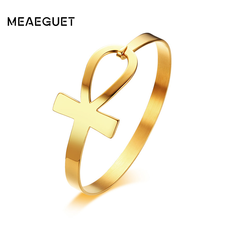 цена на Meaeguet Stainless Steel Ankh Cross Bracelet For Women Key of Life Bangle Bracelet Pulseiras Egypt Religious Jewelry