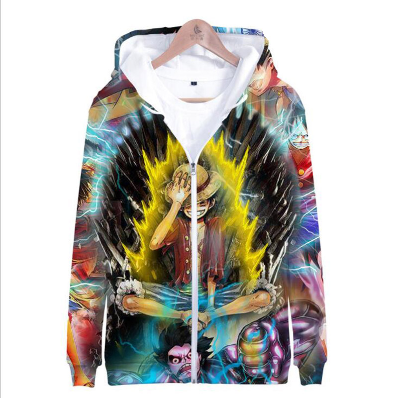 Anime One Piece Luffy 3D Hoodie Men's Jackets Hooded Coats Casual Zipper Sweatshirts Male Tracksuit Mens Clothing Outerwear