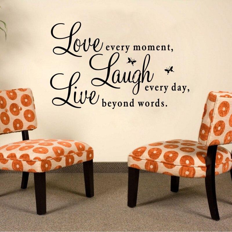 Вдохновляющие цитаты любовь каждый момент смеяться каждый день Live за слова стены наклейки для Гостиная украшения домашнего декора