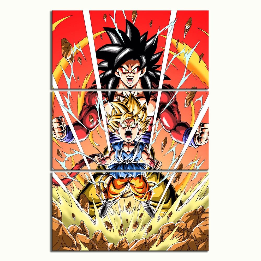 3 Piece Dragon Ball Animation Drawing Art Super Saiyan 4 Goku Cartoon Character Poster Canvas Paintings for Home Decor 2