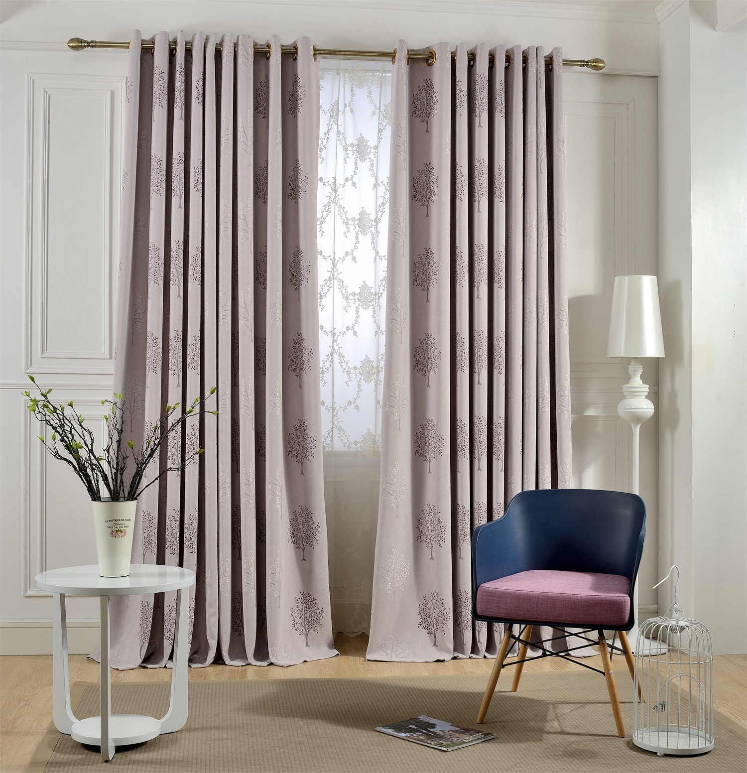 drapes living room high quality tree embroidered linen blackout curtains for 10799