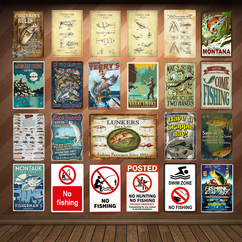 Warning Swim Zone No Fishing Tin Plate Metal Signs For Family Bar Pub Club Vintage Home Decor Come To Fish Retro Poster YD004