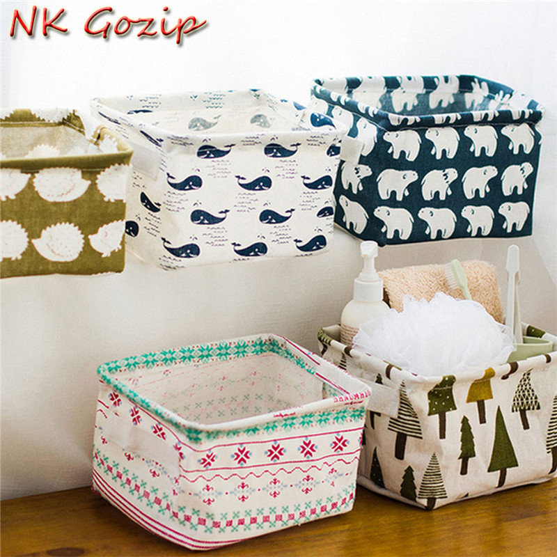 NK Gozip Hot Sale Cute Linen Desk Storage Box Holder Jewelry Cosmetic Stationery Organizer Case Best Price