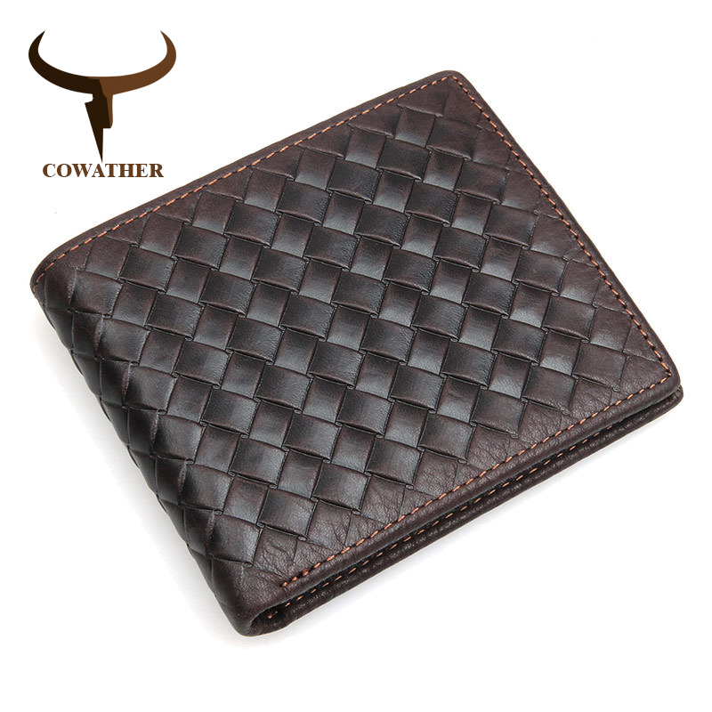 COWATHER 100% top quality cow genuine leather men wallets luxury,dollar price short style male purse,knitting wallet cowather new 100
