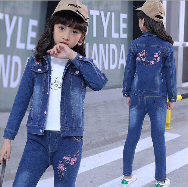 Baby Fashion Clothing Kids Girls Cowboy Suit Children Girls Sports DenimClothes Letter Denim Jacket+T-shirt+ Pants 3Pcs set 4-13 children s clothing spring high quality cowboy three piece suit of the girls flowers fashion baby suit denim set for infants