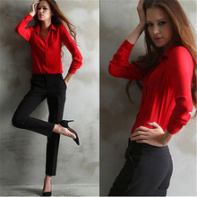 Women's Loose Long Sleeve Chiffon Casual Blouse Shirt Tops Fashion Blause femme  OL workplace woman Shirt