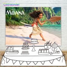 7x5ft Vinyl Cartoon Moana Maui Surfing Pacific Sea Wave Vaiana Custom Photo Studio Backdrop Background Newborn Custom B