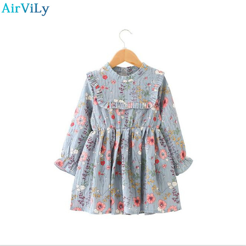 2018 New Kids Spring Dresses Floral Long Sleeve Girl Chiffon Dress Children Princess Clothing Kids Dresses For Girls Party Dress girl children floral blouse shirt spring autumn long sleeve doll collar girls thin chiffon blouses tops for teen 13 14 15y fb300
