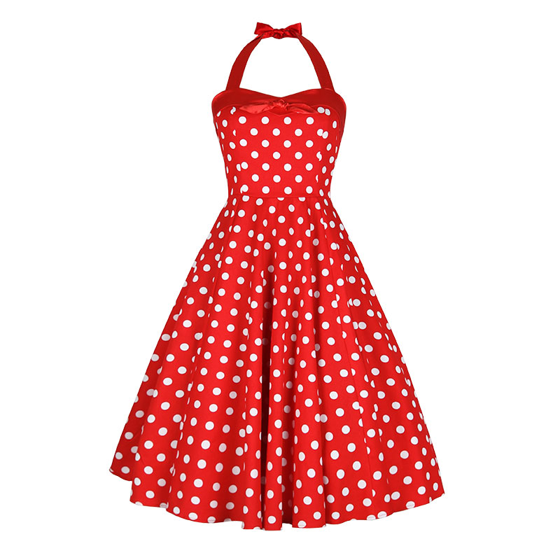 US $75.99 5% OFF|summer women vintage 1950s red white polka dot halter  swing dress plus size dresses pinup rockabilly vestidos jurken-in Dresses  from ...