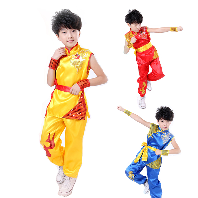 4 Pieces Set Kids Chinese Dragon Tradition Tai Chi Uniform High Quality Wushu Stage Kung Fu Clothing Martial Arts Wing Chun Suit