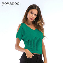 Yovamoo 2018 Summer Ulzzang Streetwear V-neck Hollow Short Sleeve Tshirt Knitted Tops Womens Clothing Red Green Apricot Black
