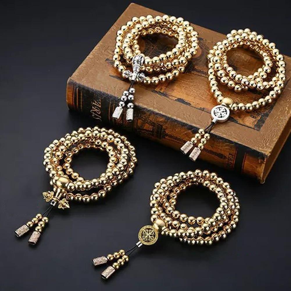 Collier perles bouddha acier inoxydable acier titane fouet acier Bracelet auto-défense fouet arme