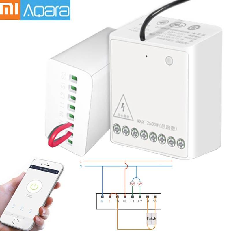 XIAOMI Aqara 2 LLKZMK11LM Two-way Controlador de Módulo de Controle do Relé Sem Fio Canais Trabalham Para Mijia APP & Kit Casa módulo de controle