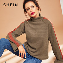 d811861703bd SHEIN Casual Coffee Mock Neck Striped High Neck Long Sleeve Colorblock  Pullover Autumn Minimalist Casual Women Sweatshirts