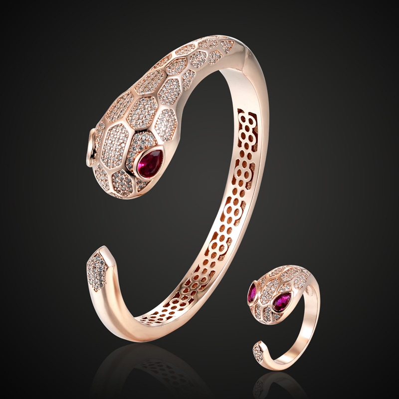 Hot quality Red Cubic zircon Eyes Snake Bracelet and bangle sets bridal jewelry sets Cuff Bracelet