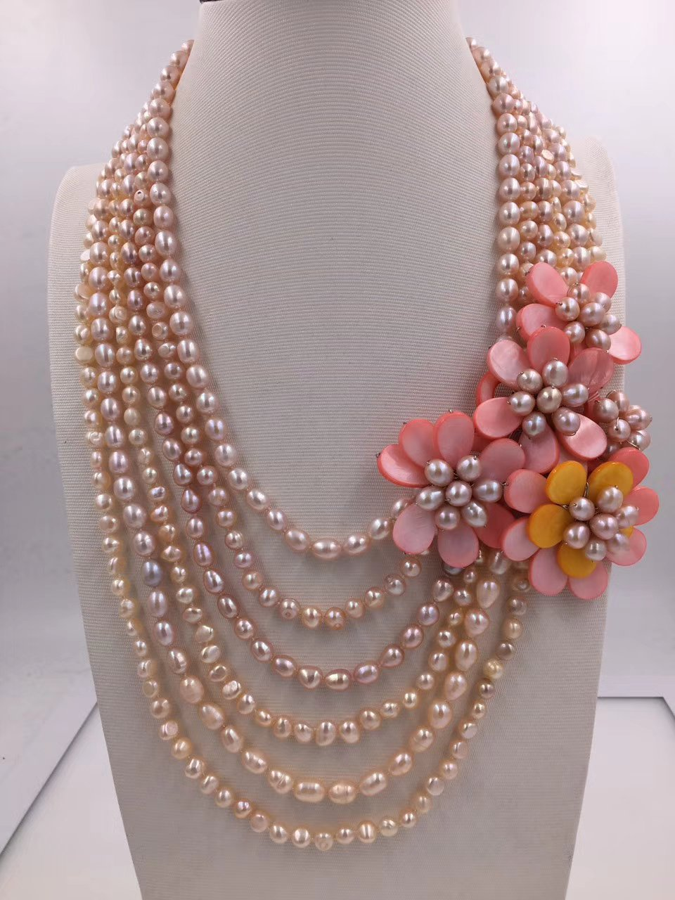 6rows freshwater pearl pink  & shell flower necklace 18-22inch nature   gift baroque wholesale beads FPPJ