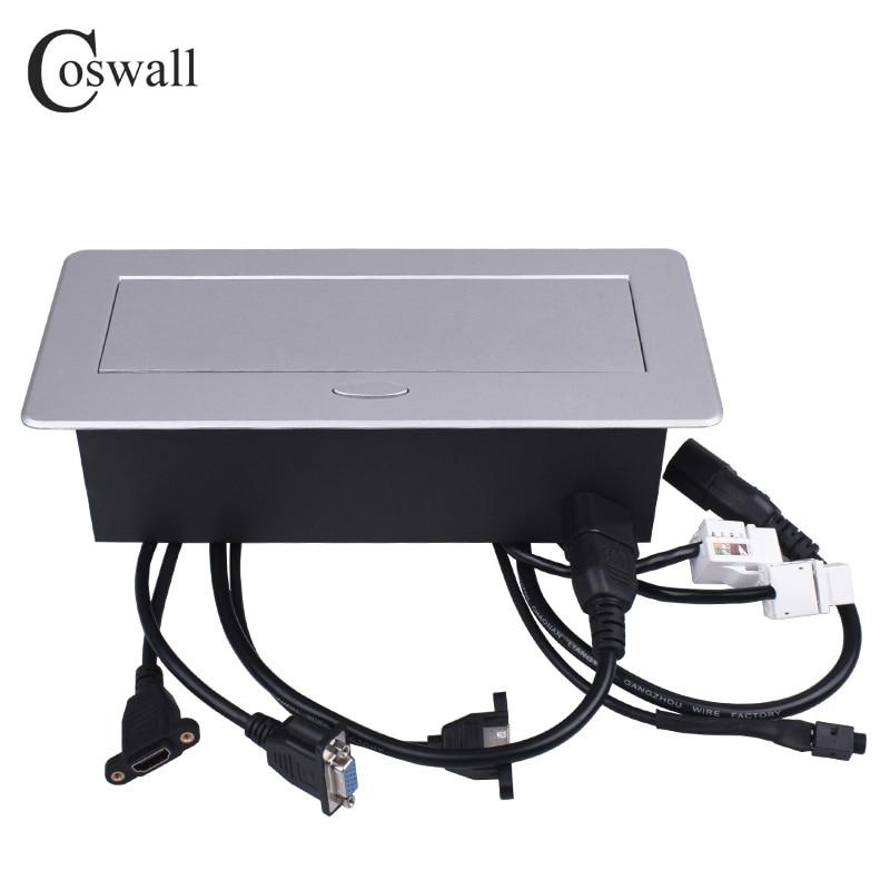 COSWALL métal corps lent POP UP caché 2 prise universelle de courant prise de Table double Port CAT6 RJ45 + HDMI + USB + VGA + 3.5mm Audio - 3