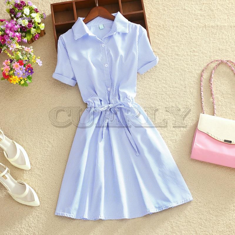 2019 Elegant Office Summer Dress Shirt Elegant Blue Stripped Cotton Turn Down Collar Wear to Work Shirts Women Dresses