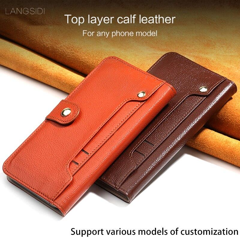 Cuero auténtico Flip caso para vkworld S8 Litchi textura girar externa tarjeta ranuras magnético hebilla funda estilo cartera