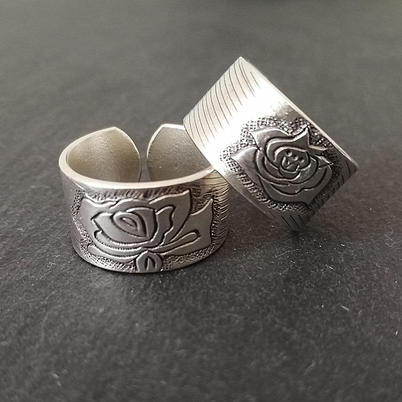 Кольца для пар из стерлингового серебра 999 пробы с изображением пиона, Женское Обручальное Кольцо, мужские свадебные винтажные Роскошные ювелирные изделия, этнические модные кольца 2019