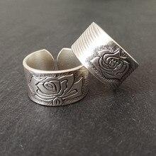 Bastiee אדמונית פרח 999 סטרלינג כסף זוג טבעות נשים אירוסין טבעת גברים חתונה בציר יוקרה תכשיטי אתני אופנה