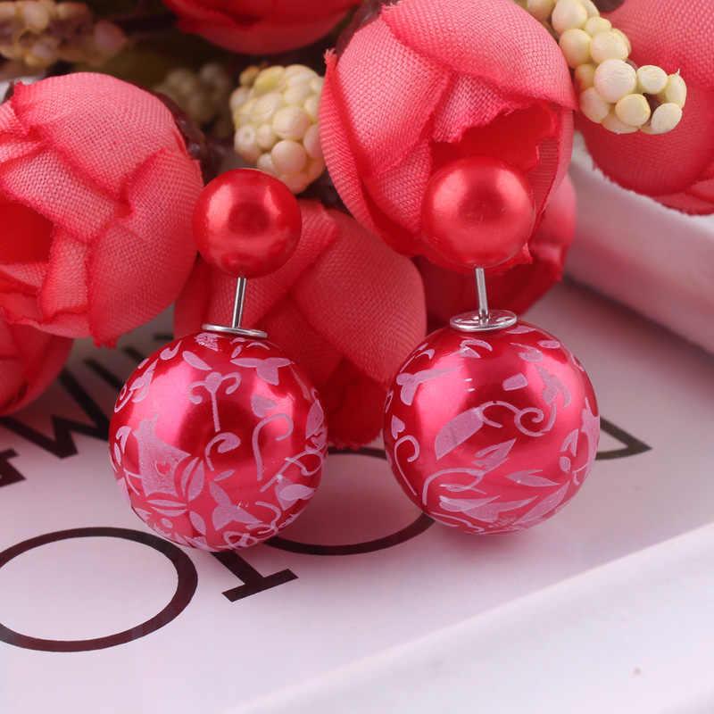 Btuamb Dubbele Kanten Grote Parel Bal Oorbellen voor Vrouwen Brincos Hot Selling Printing Verklaring Patroon Charm Sieraden Bijoux