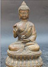 22.9 cm */Tibete Budismo Cobre Estátua de Buda Shakyamuni Sakyamuni Segure Flor